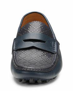 GUCCI Diamante Leather Driver, Navy - Bergdorf Goodman