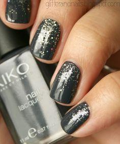 grey nail polish and silver glitter