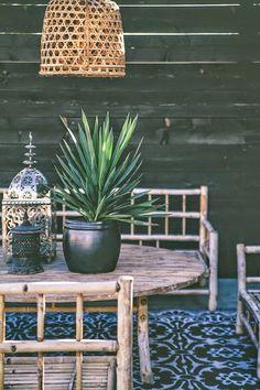 Natural wooden terrace furniture