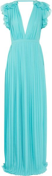 Gucci Blue Pleated Silk georgette Gown.