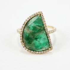 Rough Emerald Slice Ring in 18K Yellow Gold with Diamond Halo