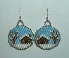 Winter Cabin Snow Glo Beaded Earrings.