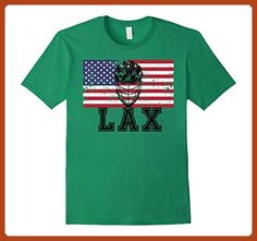 Mens Lacrosse Helmet American Flag T-Shirt Small Kelly Green - Sports shirts (*Partner-Link)