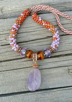 Amethyst Kumihimo Necklace Amethyst and Copper by ColoringOutside1