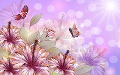 Kwiaty, Hibiskus, Motyle, Grafika 2D