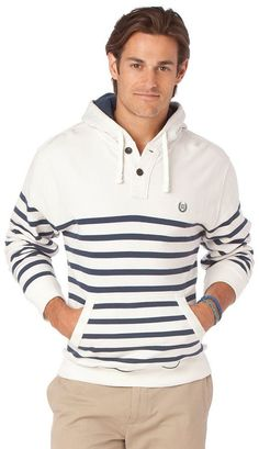 Chaps classic-fit engineer-striped french terry henley hoodie - Men's Fashion