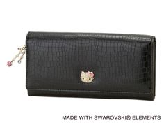 Hello Kitty Paves Long Wallet Purse Black Swarovski SANRIO JAPAN