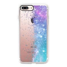 Lilac Teal Galaxy Stars Burst  - iPhone 7 Case, iPhone 7 Plus Case,... ($40) ❤ liked on Polyvore featuring accessories, tech accessories and iphone case