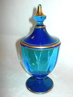 Gorgeous Old Fostoria Glass Dark Blue and Gold Lidded Candy Dish Nice   eBay