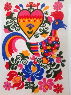Vintage Cotton Tea Towel With Vibrant 1970's Folk Colours Italian 100% cotton unused by Onmykitchentable on Etsy https://www.etsy.com/uk/listing/245810311/vintage-cotton-tea-towel-with-vibrant