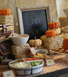 A chili bar would be a quick, easy and affordable way to feed guests at a fall baby shower! Chili Bar Party, Fall Birthday Parties, Birthday Party Themes, Harvest Birthday Party, Fall First Birthday, Fall Party Themes, Fall Themed Parties, November Birthday Party, Birthday Ideas