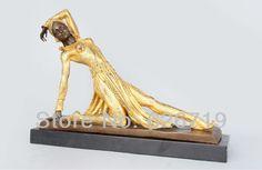 Free shipping100% bronze carved figurine modern art golden dress girl dancer sculpture home decor czs-108b