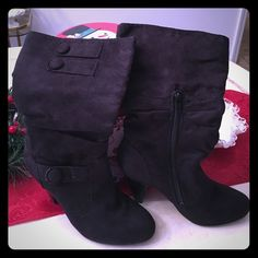 Sexy black suede calf boots 7.5  wow!! Hate parting with these super sexy boots but I live in FL they need love. Wore 2x's! Perfect faux suede woth zip open on the side and button detail on top! Love them ! Fit so comfy can wear for all day like slippers.☺️ (not Steve Maden) Listed for exposure. Looks hot with dresses  Steve Madden Shoes Heeled Boots