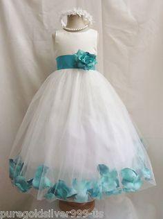 Ivory Teal Green Red Pink Brown Rose Petal Pageant Wedding Flower Girl Dress | eBay