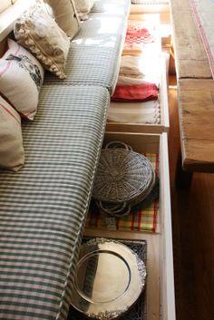 Bench storage in a kitchen banquette
