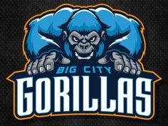 Gorillas designed by Mike Ray. American Logo, Esports Logo, Mascot Design, Shirt Print Design, Education Logo, Game Logo, Animal Logo, Creative Logo, Cool Logo