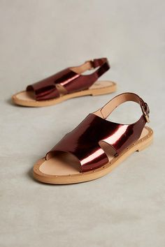 Slide View: 1: Vanessa Wu Metallic Plum Sandals