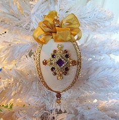 Victorian Vintage Christmas Tree Ornament Egg w/ Swarovski Crystals - Gold by HolidayCrystals on Etsy, $22.99