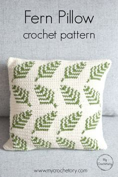 Make your own delightful crochet Fern Pillow with a beautiful botanical motif. In a quick way brighten up your living room or give someone you love as a gift. This crochet pillow is easy to make and the pattern includes colors graph and full written instr Crochet Pillow Patterns Free, Crochet Motifs, Knitting Patterns, Free Pattern, Tapestry Crochet Patterns, Modern Crochet Patterns, Crochet Blocks, Square Patterns, Afghan Patterns