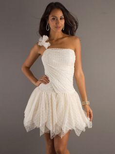 (FITS0250345)2013 Style A-line One Shoulder Hand-Made Flower Sleeveless Short / Mini  Tulle  Cocktail Dresses / Homecoming Dresses
