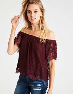 AEO Off-the-Shoulder Eyelash Lace Top -