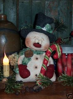 Mouse over image to zoom                                                     Have one to sell? Sell it yourself         Primitive Snowman Christmas Frosty Doll Pattern #541