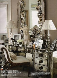 via Country living. Love the photos tucked in the mirror