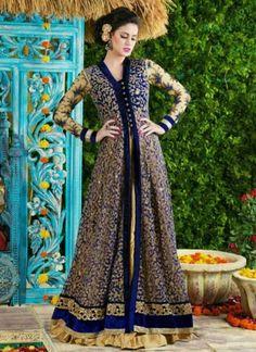 Blue Embroidery Sequins Work Lace Border Designer Long Anarkali Salwar Kameez…
