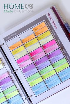 Sticky tabs make creating a meal plan a breeze. Source: Homemade by Carmona