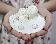 Unique Delicate Handmade Seastar Pearl Rhinestone Natural Seashell Ring Holder Ring Pillow Beach Wedding Favor Online with $55.29/Piece on Letaotao1107's Store | DHgate.com