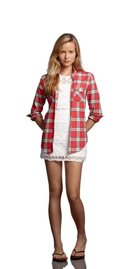 Love this look. Cute lace dress with a plaid shirt over. Look from Abercrombie & Fitch.