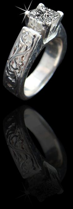 5120 band made and sold online at www.cowboyjewelers.com (800) 782-2448   Shown here in solid sterling silver featuring a 1 carat princess cut CZ stone. Available in 14K and genuine diamonds/stones also available wedding, western, western wedding, jewelry, western jewelry, wedding bands, western wedding bands, wedding bands, wedding sets
