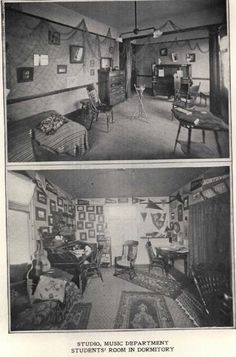 Dorm rooms (Friendly Hall) at UO in 1905.  From 1906 Webfoot (UO Yearbook).  www.CampusAttic.com