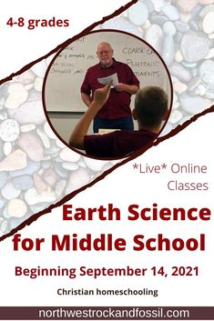 EARTH SCIENCE FOR MIDDLE SCHOOL | Live, online, interactive class. Beginning September 14, 2021. Twelve weeks. Books and samples included. | Course covers rocks, minerals, landforms, volcanoes, fossils, dinosaurs, oceans, and the cataclysmic events that formed our earth. Intro to examining creation and evolution. Students are able to interact with the instructor either via chat/real-time discussion. >>>Sign up today!! #earthscience #homeschoolmiddleschool #biblicalworldview #geologyforkids Bible Science, Earth Science, Science And Nature, Homeschool Science Curriculum, Middle School Grades, Student Learning, Geology, Textbook, High School