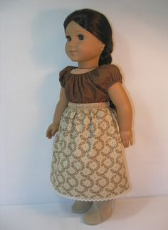 This set includes the skirt and the camisa (blouse). The skirt is made from a cotton quilters weight fabric. The hemline is finished with a dainty American Doll Clothes, Ag Doll Clothes, Party Clothes, Doll Clothes Patterns, Sewing Dolls, Ag Dolls, Cute Dolls, Girl Dolls, Cream Skirt
