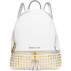 Michael Michael Kors Rhea Small Studded Backpack ($358) ❤ liked on Polyvore featuring bags, backpacks, white bags, white backpack, backpacks bags, leather daypack and michael kors bags