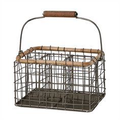 Reedsville Utensil Caddy Utensil Storage, Utensil Holder, Cane Handles, Urban Farmhouse, Parking Design, Weathered Oak, Natural Home Decor, Wire Baskets, Rustic Charm