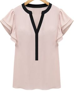 Pink Ruffle Short Sleeve V-neck Blouse - Sheinside