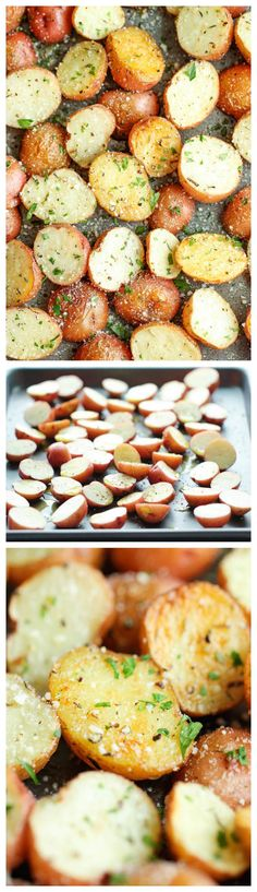Garlic Parmesan Roasted Potatoes - These buttery garlic potatoes are tossed with Parmesan goodness and roasted to crisp-tender perfection...imagine them parboiled first!