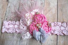 Diadema rosa accesorio del pelo de bebé niña por AldonasBoutique