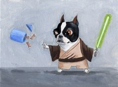 """The Ultimate boston terrier star wars dog art print set"" by rubenacker@etsy    Too cute!!"