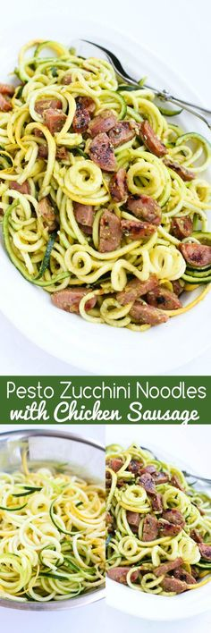 Pesto Zucchini Noodles with Chicken Sausage…Only 6 ingredients! Perfect when you're craving pesto pasta, but want a light and healthy recipe. 205 calories and 5 Weight Watchers SmartPoints Pesto Zucchini Noodles, Zucchini Noodle Recipes, Zoodle Recipes, Spiralizer Recipes, Veggie Noodles, Pesto Pasta, Veggie Recipes, Paleo Recipes, Low Carb Recipes