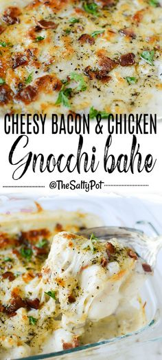 This Cheesy Bacon & Chicken Gnocchi Bake is the epitome of comfort food! Melty, gooey cheese, crispy salty bacon, and that pillowy soft gnocchi mixed in the sauce with the savory chicken, WOW. Chicken And Gnocci, Cheesy Chicken, Chicken Bacon, Pasta Dishes, Food Dishes, Baked Gnocchi, Cooking Recipes, Healthy Recipes, Easy Comfort Food Recipes