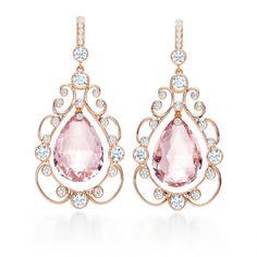 Morganite drop earrings with diamonds set in 18k rose gold by Tiffany