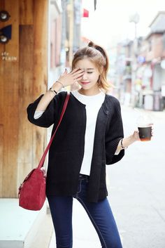 Round Roll Knit Cardigan | Korean Fashion