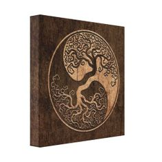 Tree of Life Yin Yang with Wood Grain Effect Stretched Canvas Print