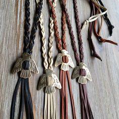 Thunderbird Braided Leather Bolo Style Lariat Necklace