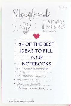 View this extensive list, compiled to help you fill your collection of blank, unloved notebooks. A wide array of Notebook Ideas will definitely inspire