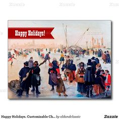 """Merry Christmas and a Happy New Year. Fine Art Customizable Business / Corporate Christmas Flat Greeting Cards. """"Ice Skating"""", fragment of the painting, 17th century. Artist: Hendrick Avercamp. Matching cards, postage stamps and other products available in the Christmas & New Year / Fine Art Category of the oldandclassic store at zazzle.com"""