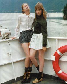 Collared shirt + skirt + socks